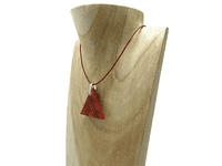 Natural Red Triangle Bead & Sterling Silver Leather Necklace | Silver Sensations